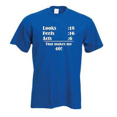40th Birthday t shirt Looks feels forty t-shirt Happy Birthday FREE UK DELIVERY