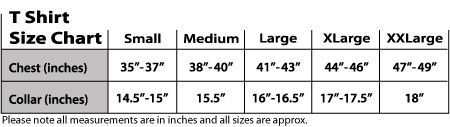 Shoebob t shirt size chart